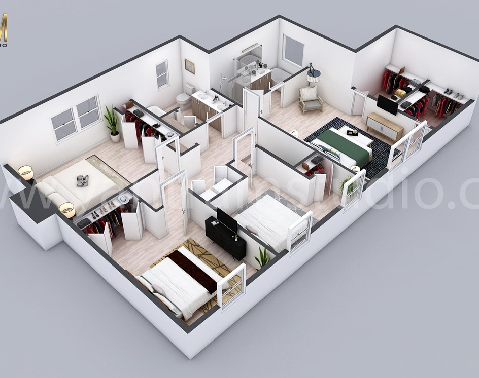 3D Residential floor plan designer By architectural visualization studio  Chicago, Illinoisby Ruturaj desai