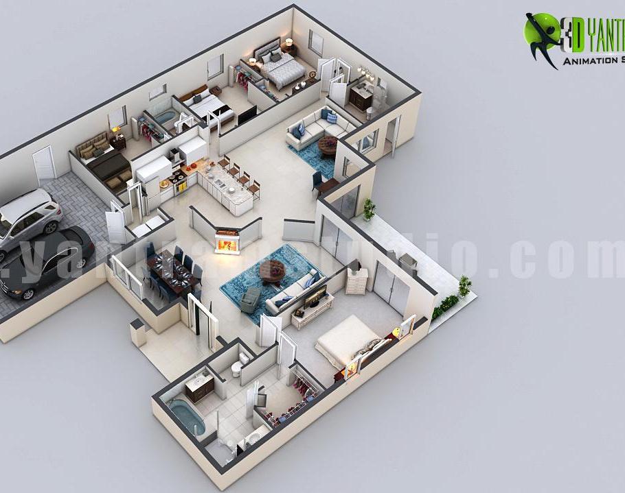 3D virtual Floor Plan Design by Architectural Design Studio – Fort Worth,texasby Ruturaj Desai