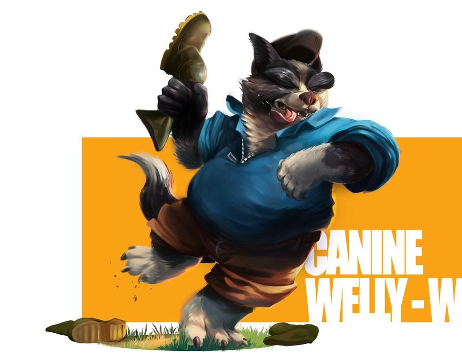 Canine Welly-Wanger - 3Dtcdcby Emily Ormerod