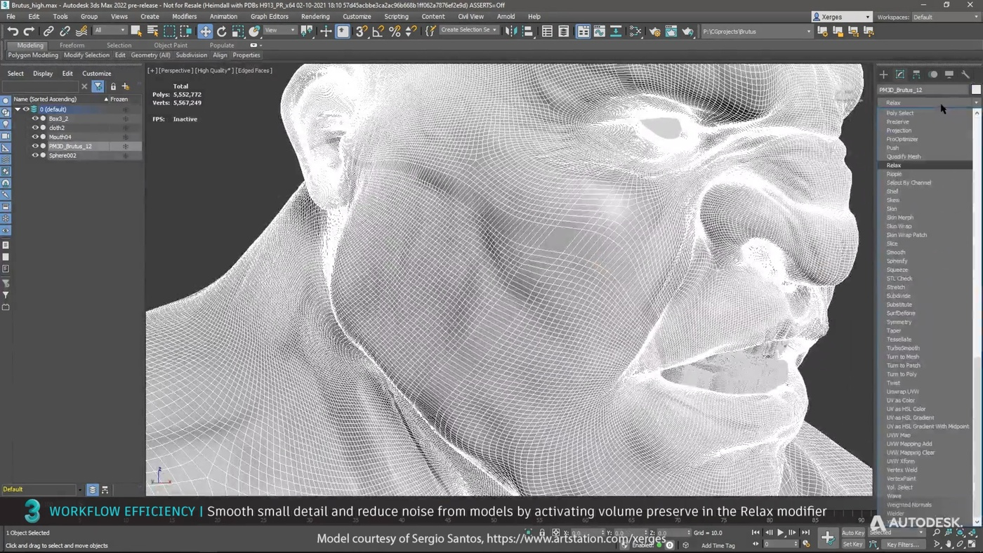 face model smooth small detail reduced noise Relax modifier