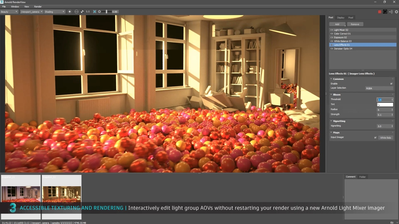 Interactively edit light group AOVs  Arnold Light Mixer imager