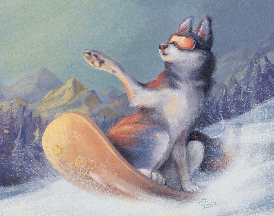 Husky on snowboard (or Life is Good)by Ioana Tistu
