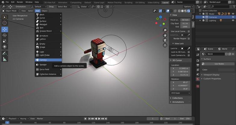 creating camera render scene model menu