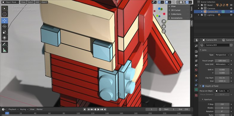 camera depth of field iron man lego design