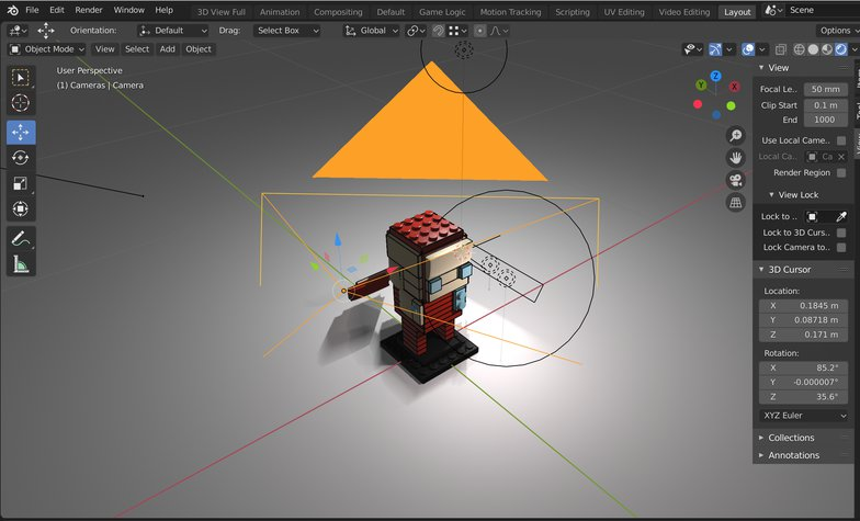 active camera 3d model tool settings objects
