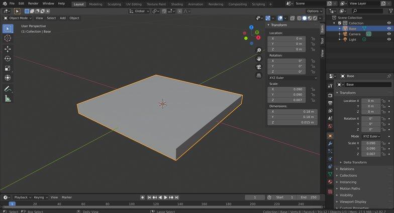 base creating 3d model
