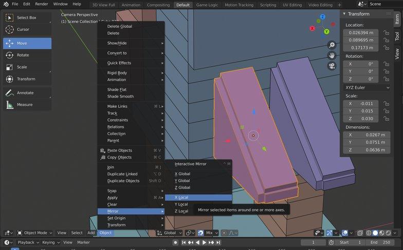 mirror modelling effect 3d render