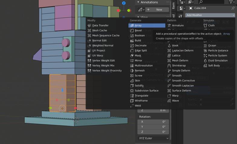 adding modifiers properties panel