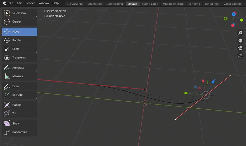 Bézier curve 3d model render blender
