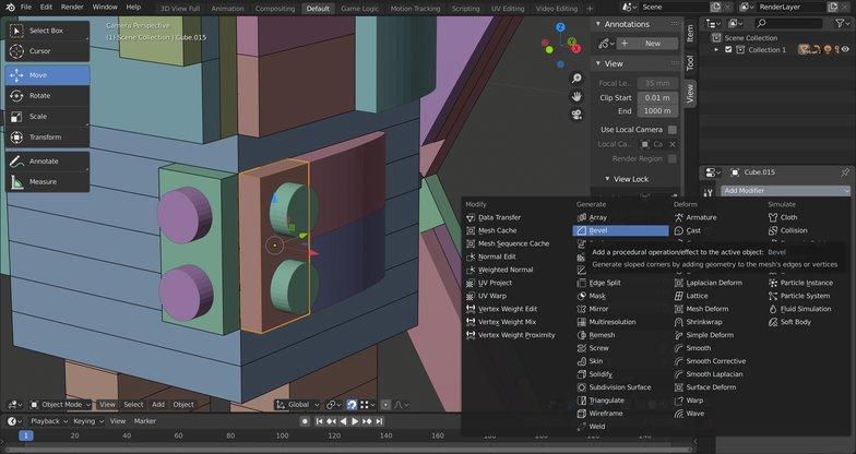 creating bevel 3d model blender