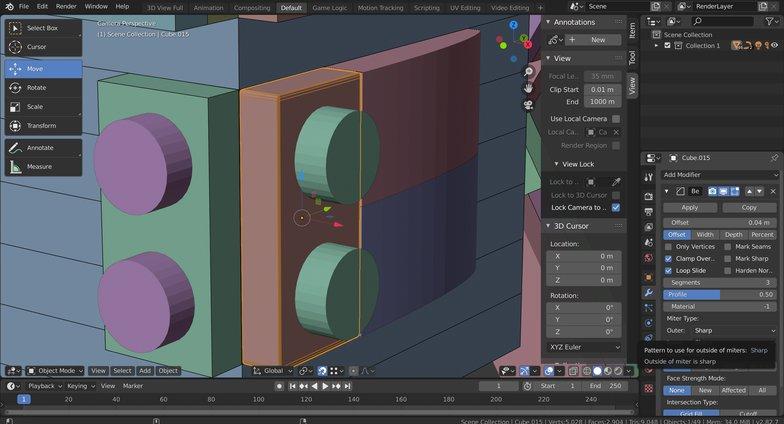 bevel modifier objects 3d rendering