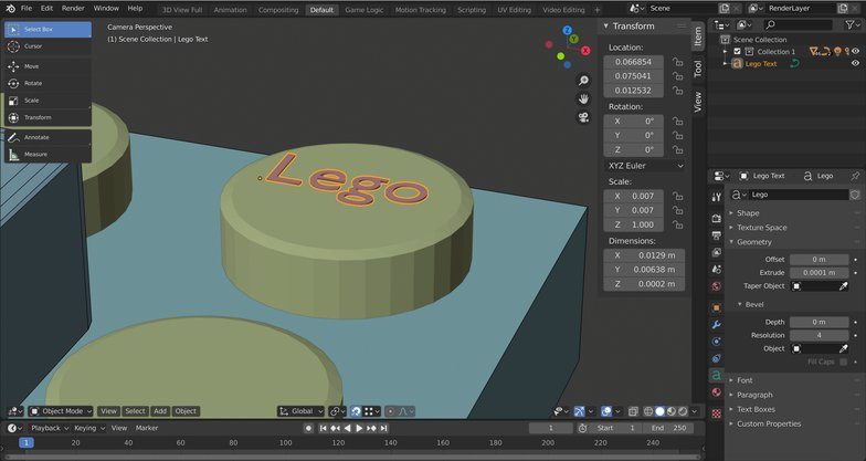 lego text effect 3d model blender