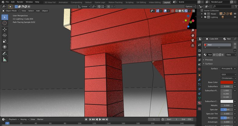 underlying colour base setting 3d model
