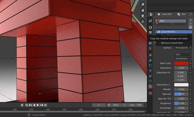 duplicate materials properties 3d model