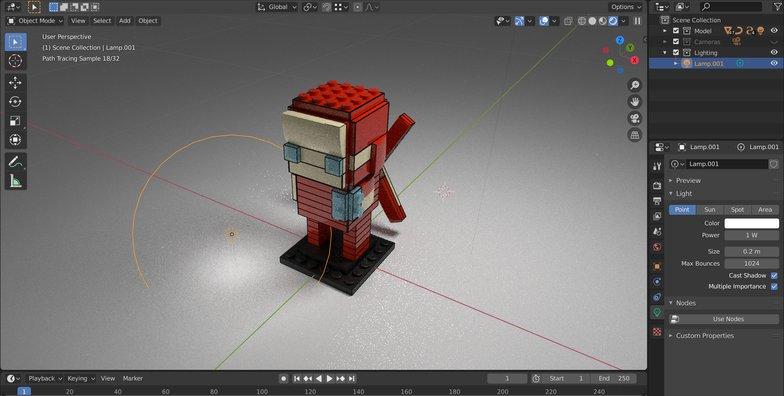 single point light 3d modeling blender