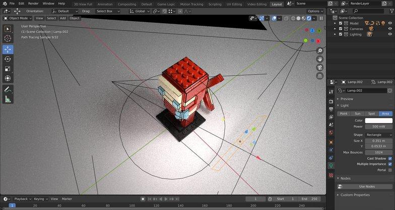 lighting 3d model rigging camera lego design