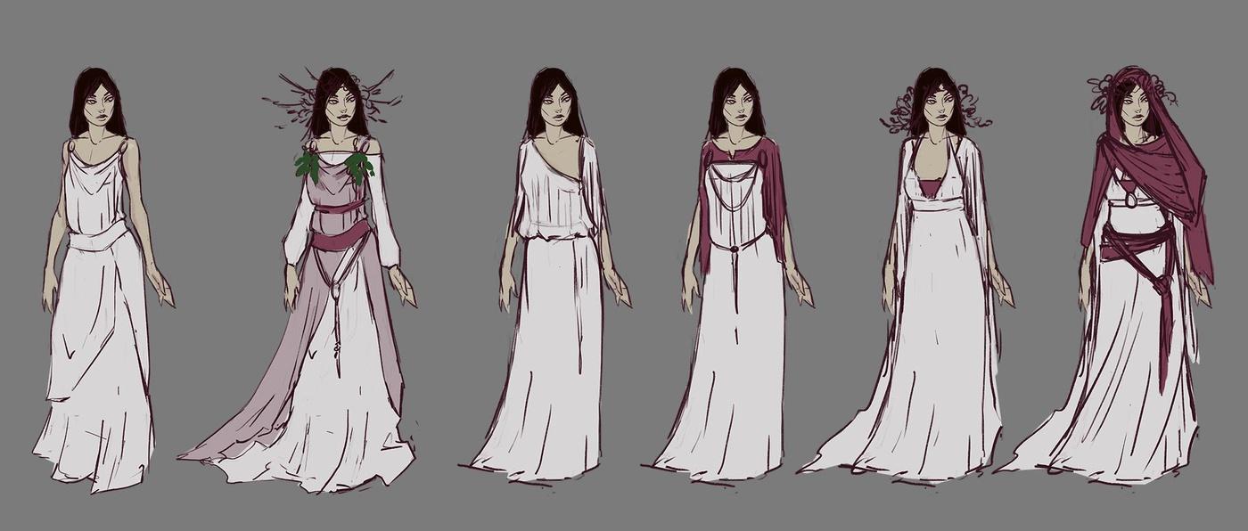 greek female character 2d illustrations development rough design