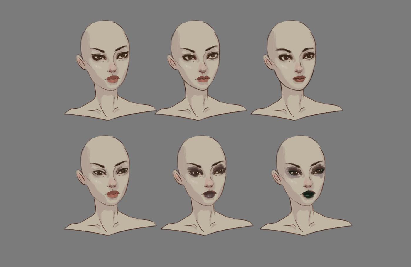 face 2d development digital art illustrations