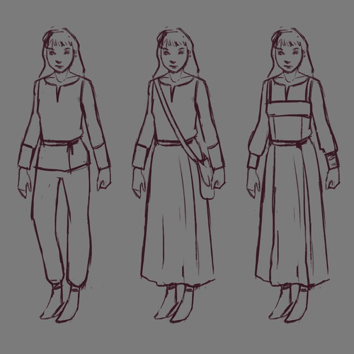 initial rough design sketches outfit illustrations