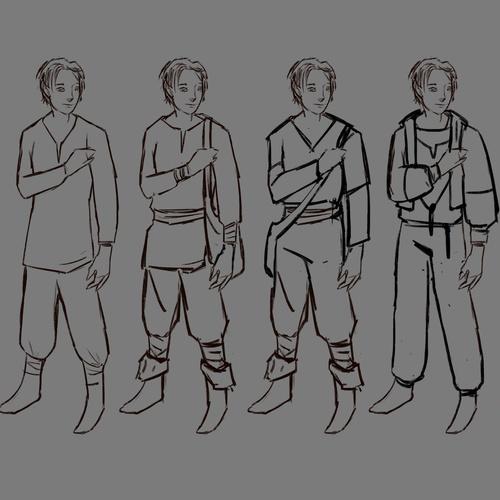 initial rough design sketches attire illustrations