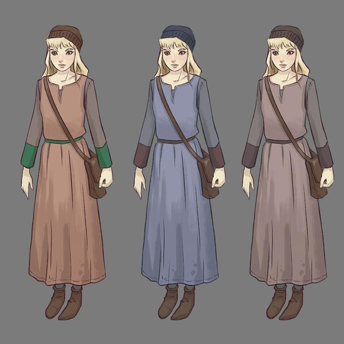 color design hair clothing finalising 2d illustration female character