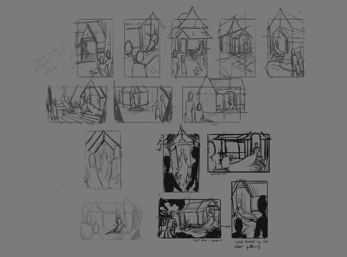 thumbnails rough drawing sketching illustrations 2d
