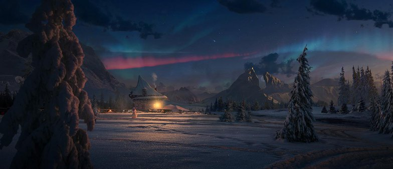 northern lights snowy landscape