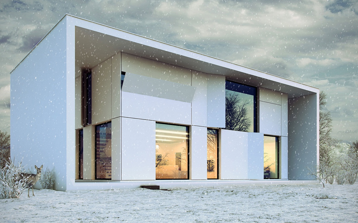 modern architecture snowy scenery