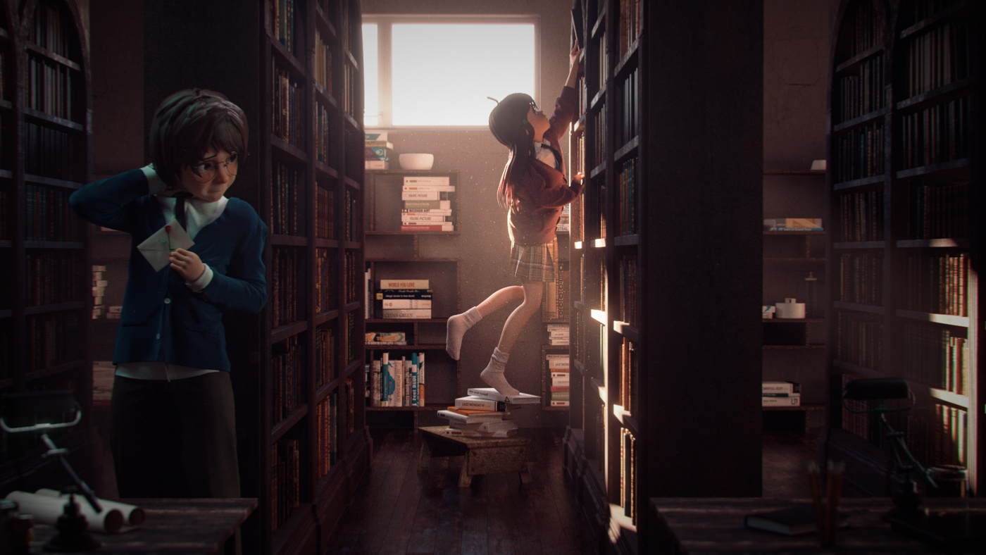 love letter confession love setting library 3d environment
