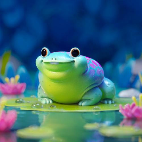 cute frog amphibian creature design 3d model render