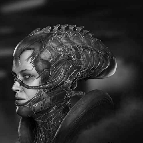 alien 3d art sigourney weaver ellen ripley hr giger
