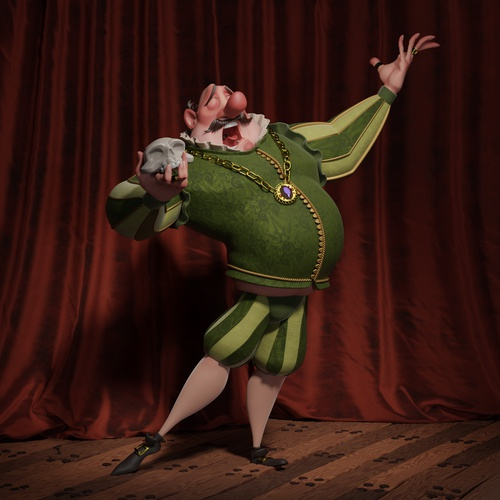 hamlet singer theatre performer 3d model stylised character