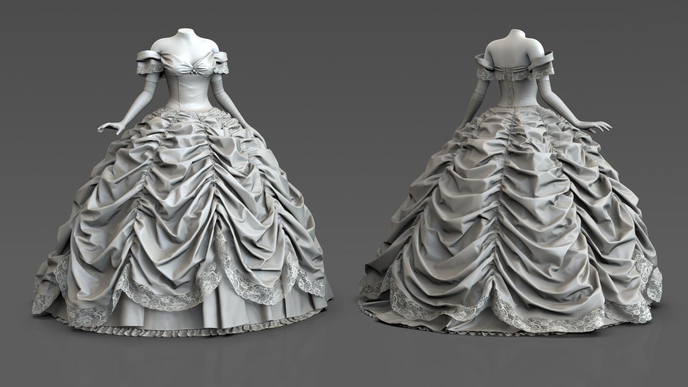 belle disney dress model female character