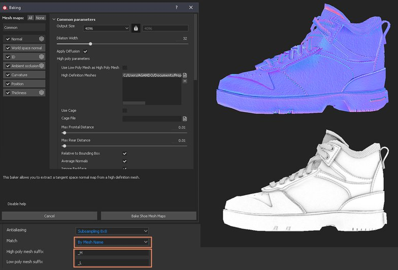baking map setting 3d render