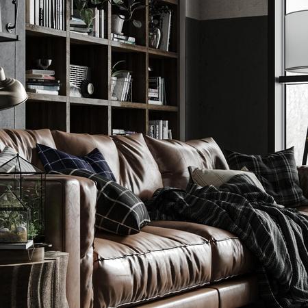 bookshelf monotone render building architecture realism living room office