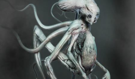 tentacle alien 3d model design sculpture render realistic