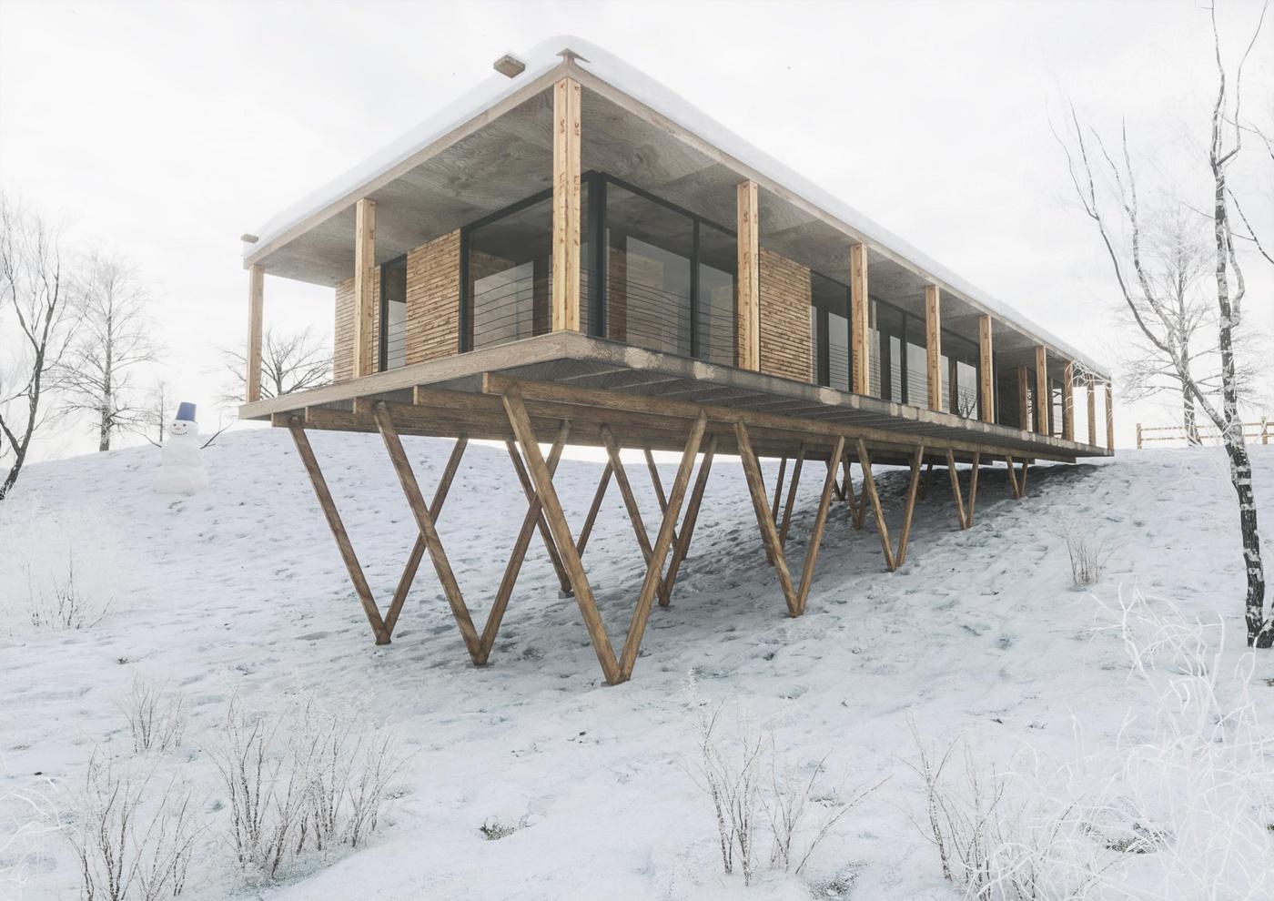 snow background 3d building render model