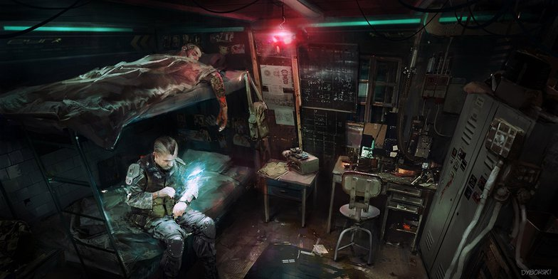 Cyberpunk soldiers in their room