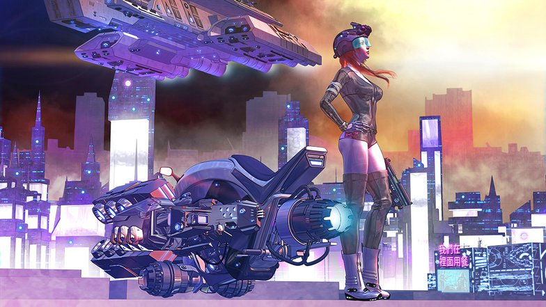 cyberpunk girl with bike