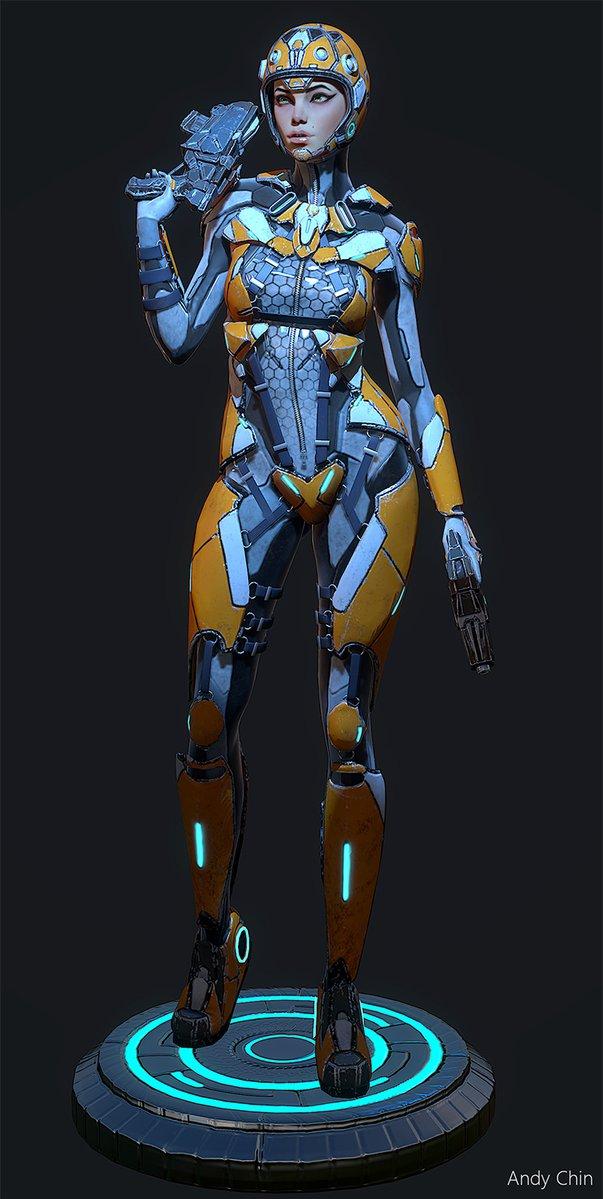 Cyberpunk female future soldier