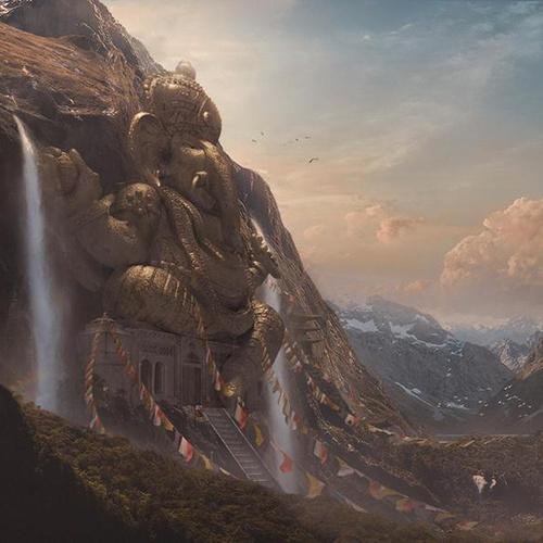 Indian Ganesh temple mountain hindu hinduism