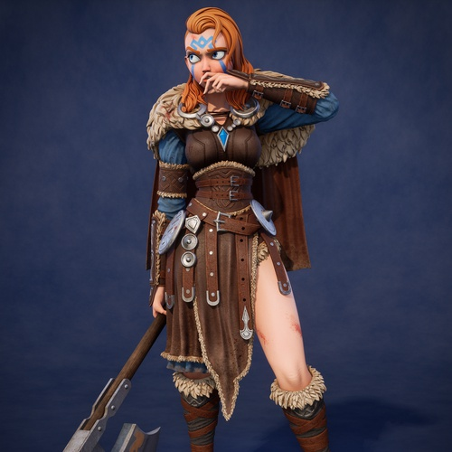 viking warrior female character design mode l3d