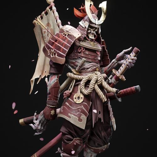 skeleton samurai 3d model