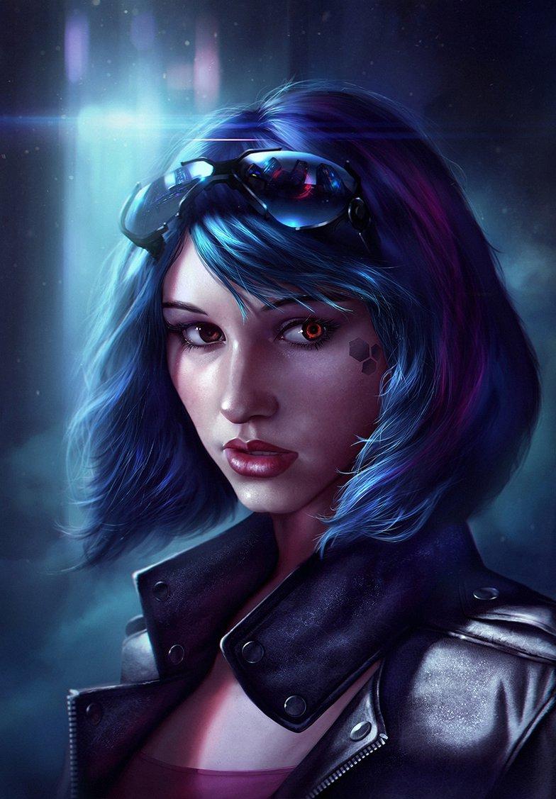 blue haired cyberpunk girl