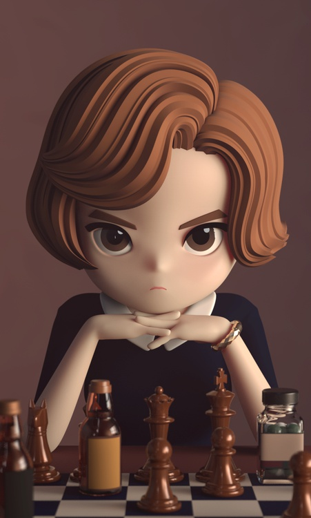 queen's gambit chess board game 3d character design