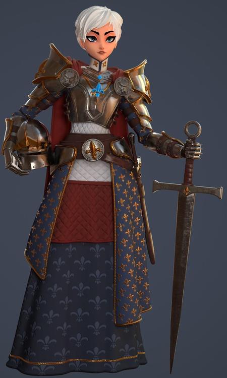 stylised 3d character design sculpt render joan of arc