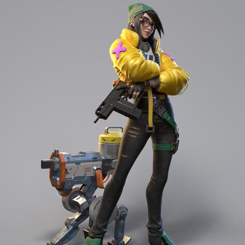 jacket character 3d model stylised sci-fi digital art