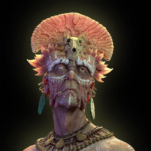 shaman 3d character model render dark fantasy  detail