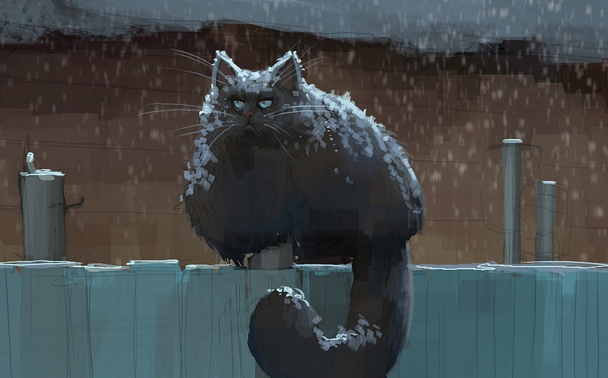 cat, fence, snow, stylized, grumpy