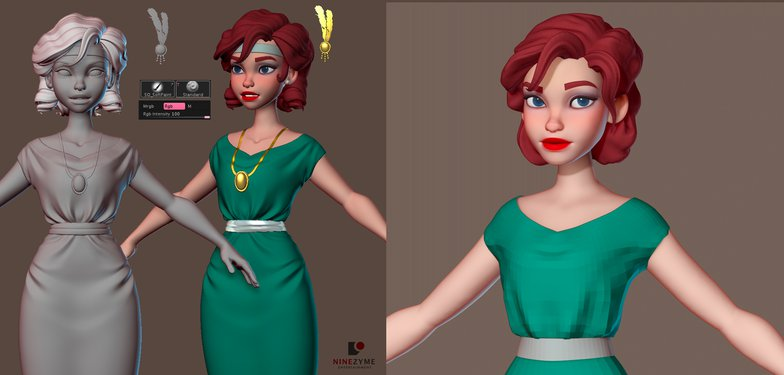 polypainting zbrush flapper female character